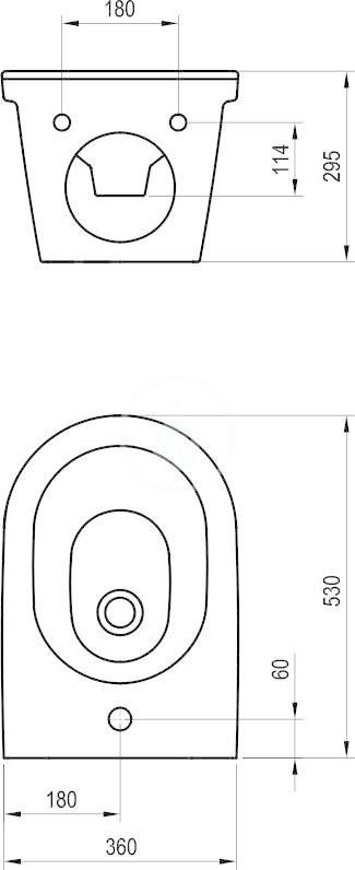 RAVAK - Chrome Závěsný bidet, 360x525x300 mm, bílá (X01450)