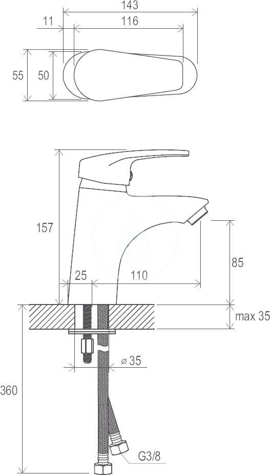 RAVAK - Neo Umyvadlová stojánková baterie NO 012.00 bez výpusti, chrom (X070023)