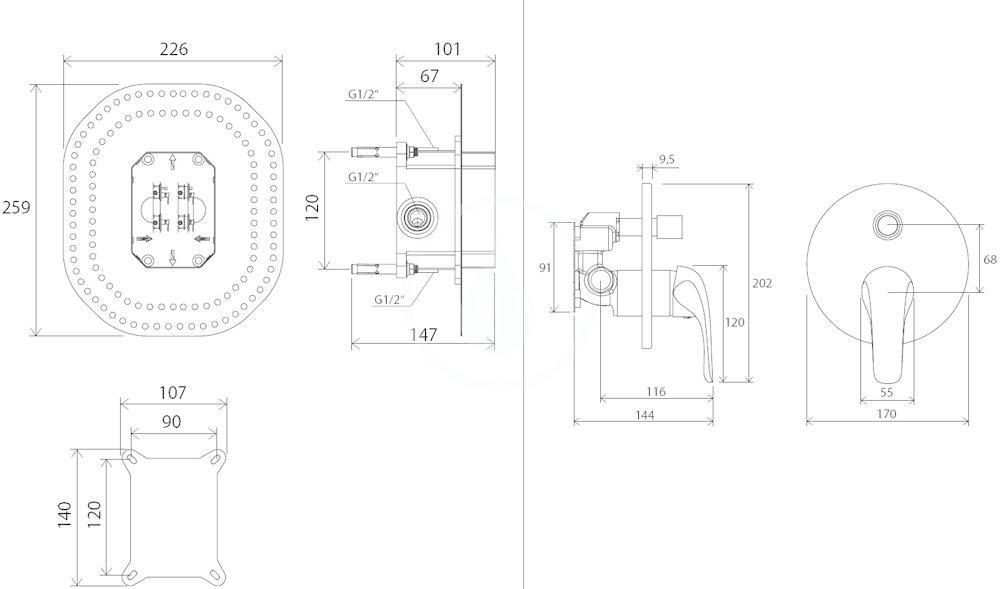 RAVAK - Rosa Vanová baterie RS 065.00 pod omítku, s přepínačem, pro R-box, chrom (X070050)