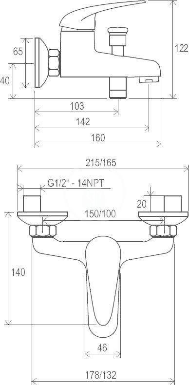 RAVAK - Suzan Vanová nástěnná baterie SN 022.00/100, rozteč 100 mm, chrom (X070003)