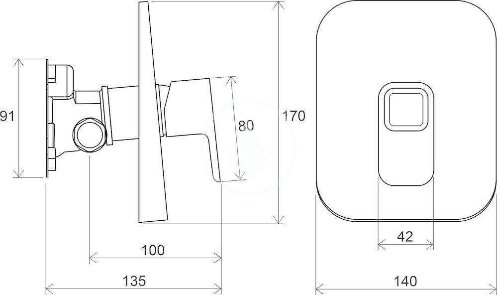 RAVAK - 10° Sprchová baterie TD 066.00 pod omítku, pro R-box, chrom (X070071)