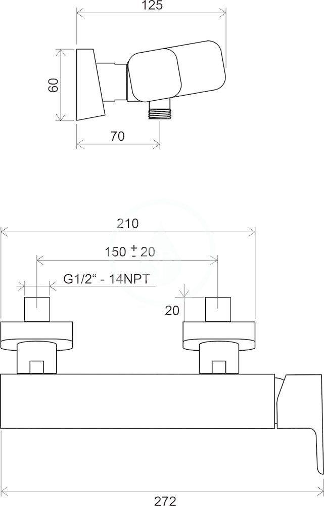 RAVAK - 10° Sprchová nástěnná baterie TD 032.00/150, chrom (X070066)