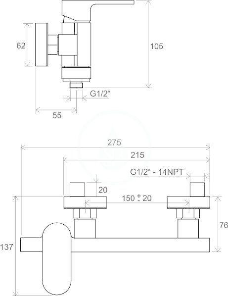 RAVAK - Chrome Sprchová nástěnná baterie CR 032.00/150, chrom (X070043)