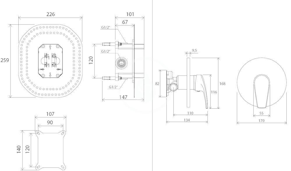 RAVAK - Neo Sprchová baterie NO 066.00 pod omítku, pro R-box, chrom (X070044)