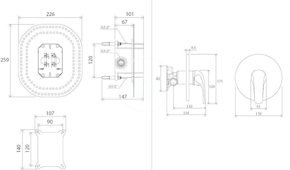 RAVAK - Rosa Sprchová baterie RS 066.00 pod omítku, pro R-box, chrom (X070049)