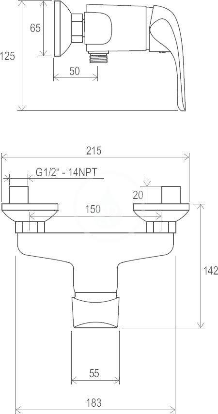 RAVAK - Rosa Sprchová nástěnná baterie RS 032.00/150, chrom (X070012)