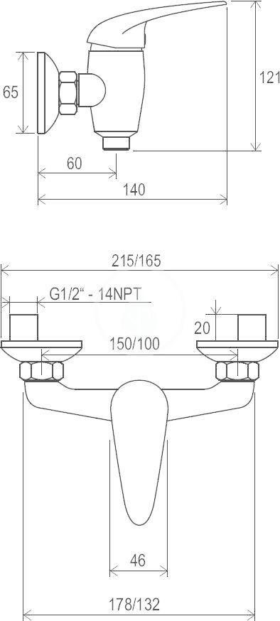 RAVAK - Suzan Sprchová nástěnná baterie SN 032.00/150, chrom (X070006)