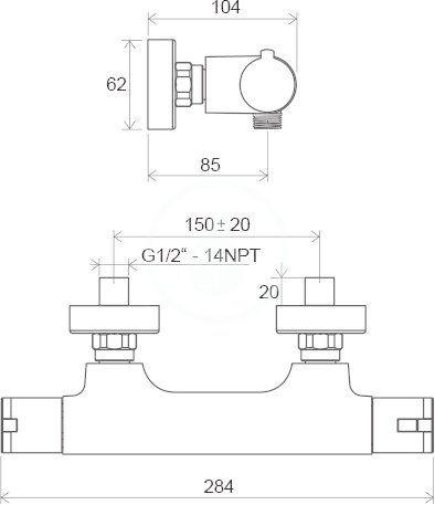 RAVAK - Termo Termostatická sprchová baterie 100, TE 082.00/150, chrom (X070034)