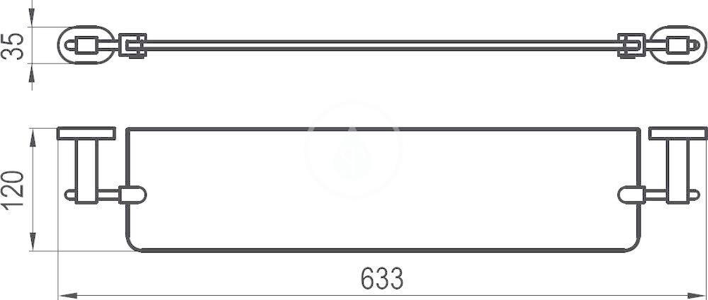 RAVAK - Chrome Polička skleněná CR 500.00, délka 640 mm, chrom/matné sklo (X07P195)