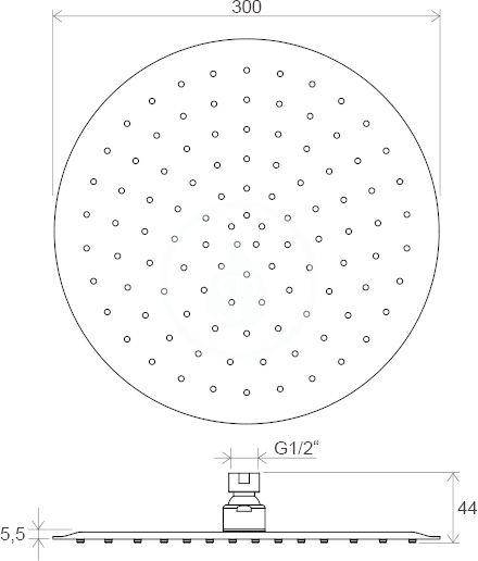 RAVAK - Chrome Hlavová sprcha 984.00 Slim, 300 mm, chrom (X07P336)