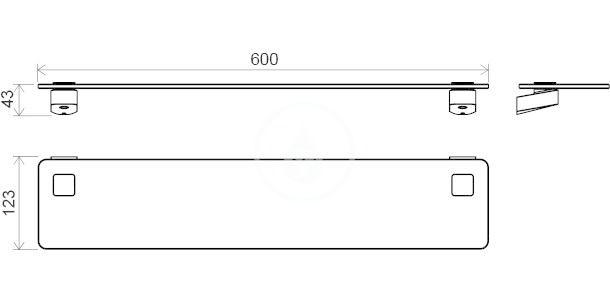 RAVAK - 10° Polička skleněná TD 500.00, délka 600 mm, chrom/matné sklo (X07P332)