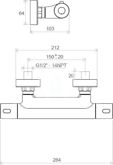 RAVAK - Termo Termostatická sprchová baterie 300, TE 033.00/150, chrom (X070096)