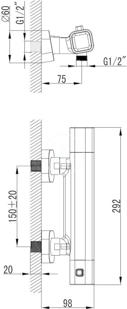 RAVAK - 10° Termostatická sprchová baterie TD 033.00/150, chrom (X070102)