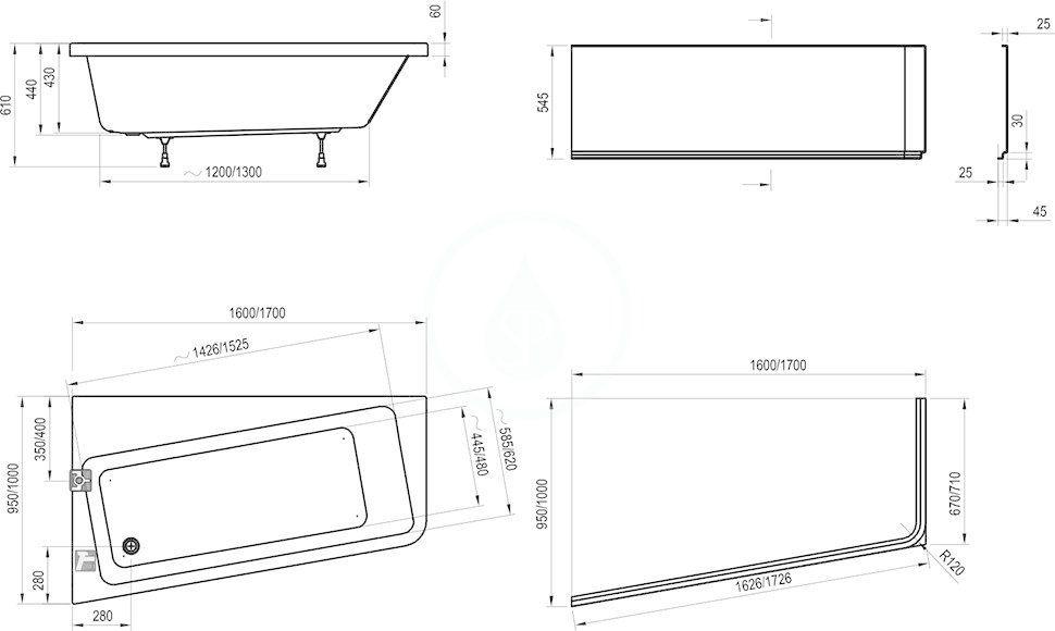 RAVAK - 10° Čelní panel 170 P, pravý, bílá (CZ82100A00)