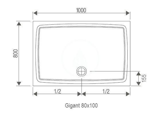RAVAK - Galaxy Sprchová vanička Gigant LA, 1000x800 mm, AntiBac, bílá (XA01A401210)
