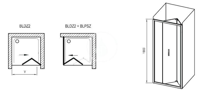 RAVAK - Blix Sprchové dveře skládací dvoudílné BLDZ2-70, 670-710 mm, lesklý hliník/čiré sklo (X01H10C00Z1)