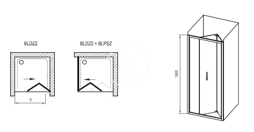 RAVAK - Blix Sprchová stěna BLPSZ-90, 880-900 mm, lesklý hliník/čiré sklo (X93H70C00Z1)