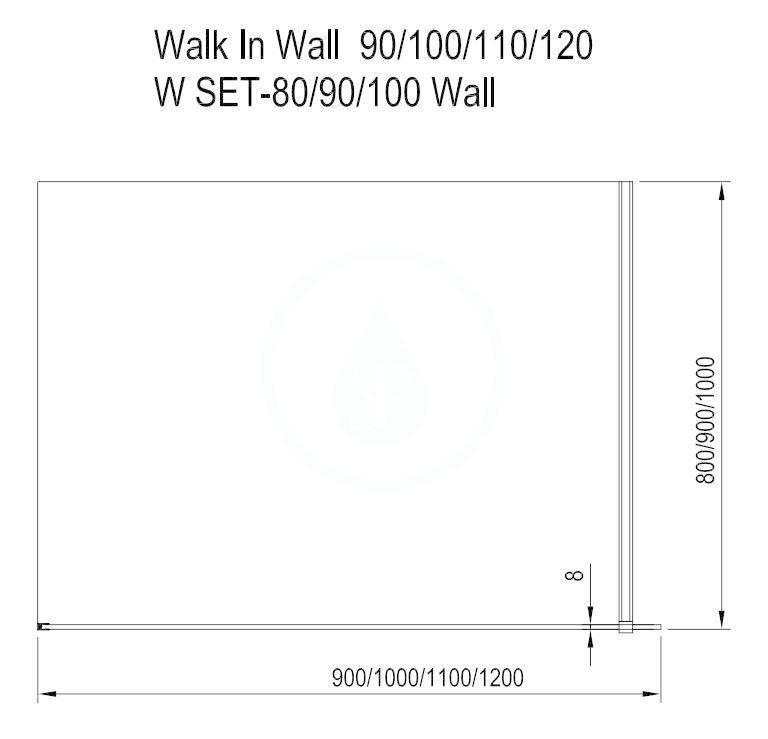 RAVAK - Walk-In Sprchová stěna Walk-in Wall 110, 1100x2000 mm, lesklý hliník/čiré sklo (GW9WD0C00Z1)