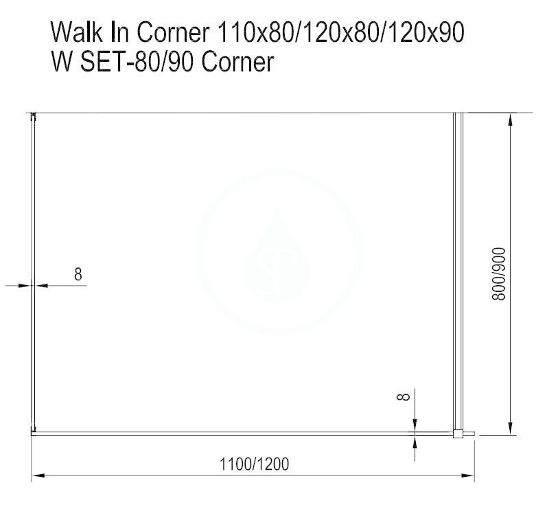 RAVAK - Walk-In Sprchový kout Walk-in Corner 120/90, 1200x900 mm, lesklý hliník/čiré sklo (GW1CG7C00Z1)