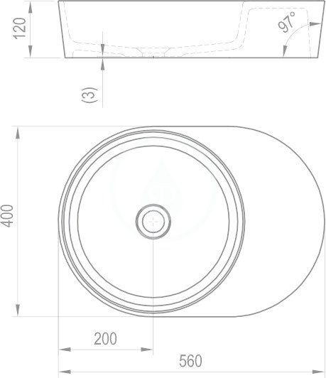 RAVAK - Moon Umyvadlo na desku 2S, 560x400 mm, bez přepadu, bílá (XJN01300003)