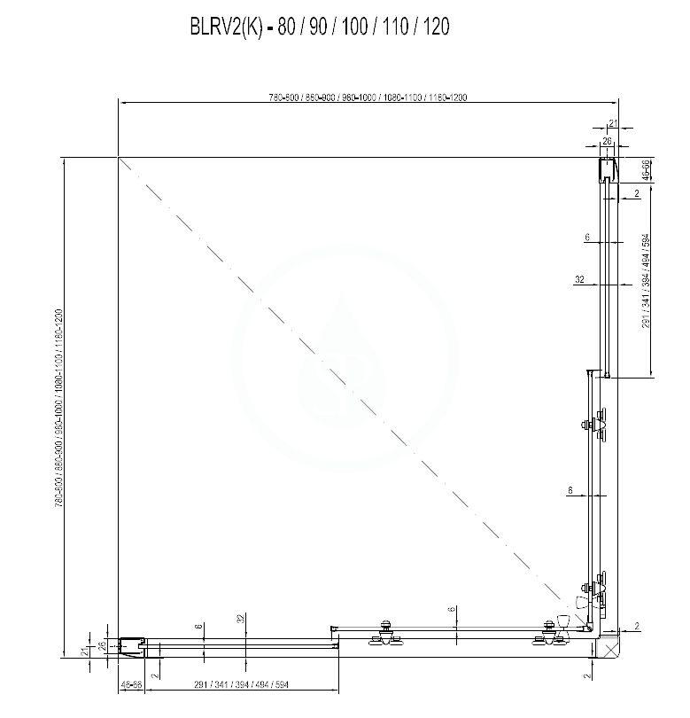 RAVAK - Blix Sprchový kout čtyřdílný BLRV2-80, 780-800 mm, lesklý hliník/sklo Grape (1LV40C00ZG)