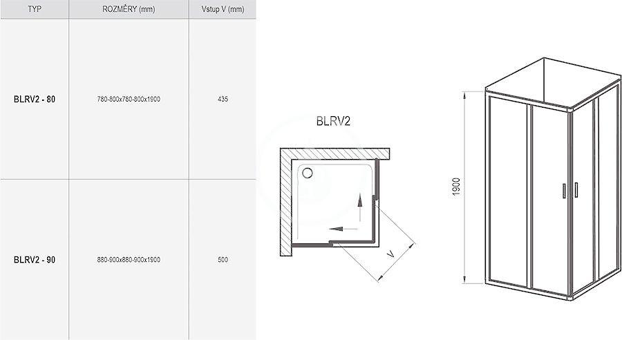 RAVAK - Blix Sprchový kout čtyřdílný BLRV2-90, 880-900 mm, lesklý hliník/sklo Grape (1LV70C00ZG)