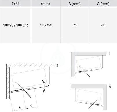 RAVAK - 10° Vanová zástěna dvoudílná 10CVS2, pravá, 990x1500 mm, bílá/transparentní sklo (7QRA0103Z1)