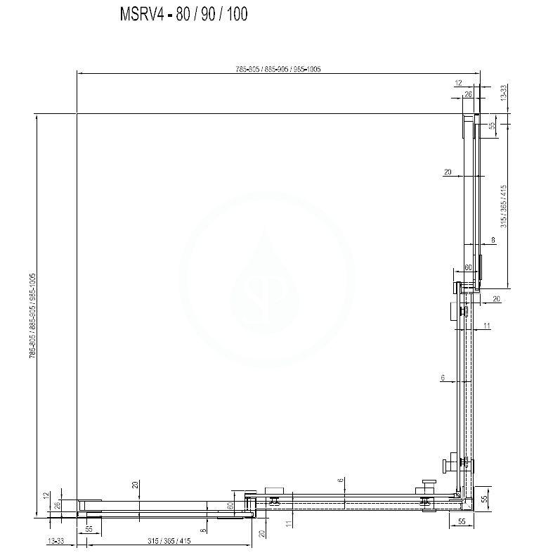 RAVAK - Matrix Sprchový kout čtyřdílný MSRV4-100/100, 985-1005 mm, lesklý hliník/čiré sklo (1WVAAC00Z1)