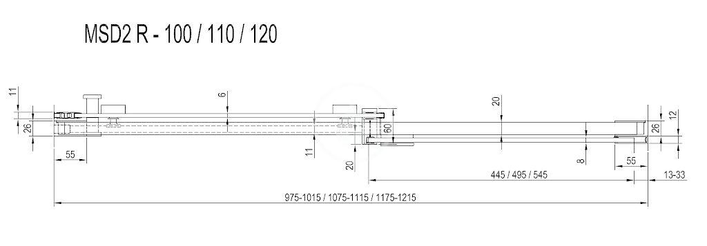 RAVAK - Matrix Sprchové dveře dvoudílné MSD2-110 R, 1075-1115 mm, lesklý hliník/čiré sklo (0WPD0C00Z1)