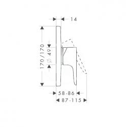 AXOR - Citterio M Sprchová podomítková baterie, chrom (34625000), fotografie 4/3