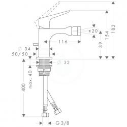 AXOR - Citterio M Bidetová baterie s výpustí, chrom (34210000), fotografie 6/3