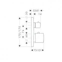 AXOR - Citterio M Termostatická baterie pod omítku s uzavíracím ventilem, chrom (34705000), fotografie 8/4