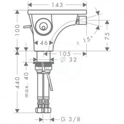 AXOR - Massaud Páková bidetová baterie, chrom (18210000), fotografie 4/3