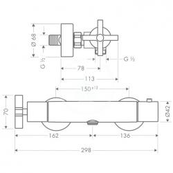 AXOR - Citterio Sprchová termostatická baterie, chrom (39365000), fotografie 2/1