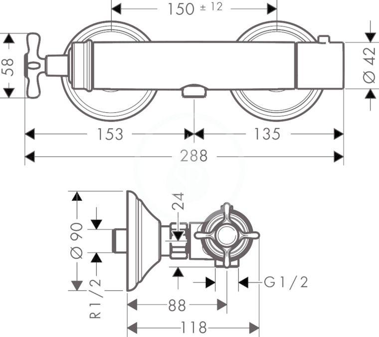 AXOR - Montreux Sprchový termostat na omítku, chrom (16261000)