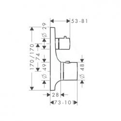 AXOR - Massaud Termostatická baterie pod omítku s uzavíracím ventilem, chrom (18745000), fotografie 4/2