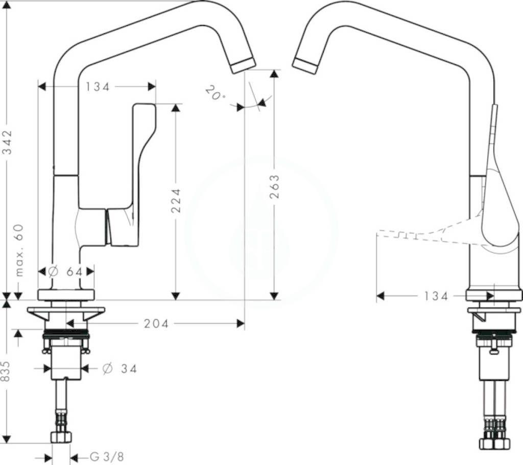 AXOR - Citterio Páková dřezová baterie, chrom (39850000)