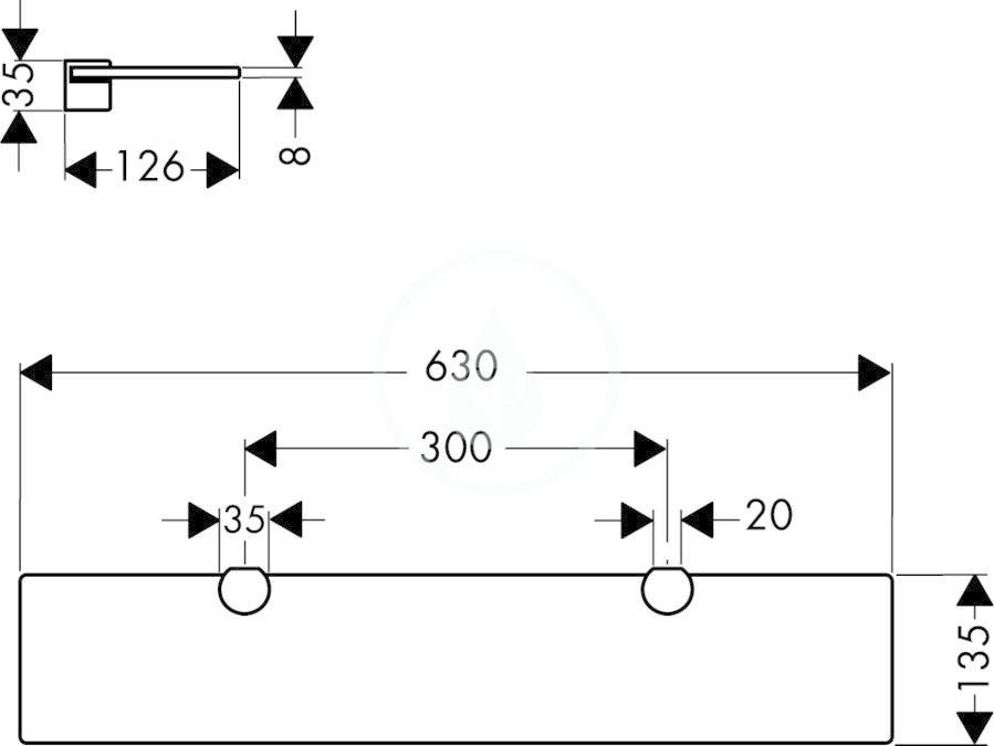AXOR - Citterio Skleněná polička, chrom (41550000)