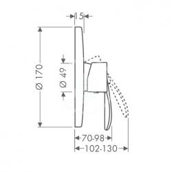 AXOR - Starck Classic Sprchová baterie pod omítku, chrom (10615000), fotografie 4/2