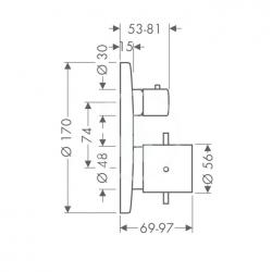 AXOR - Starck Termostat pod omítku s ventilem, chrom (10700000), fotografie 6/3