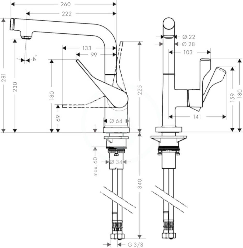 AXOR - Citterio Páková dřezová baterie, chrom (39860000)