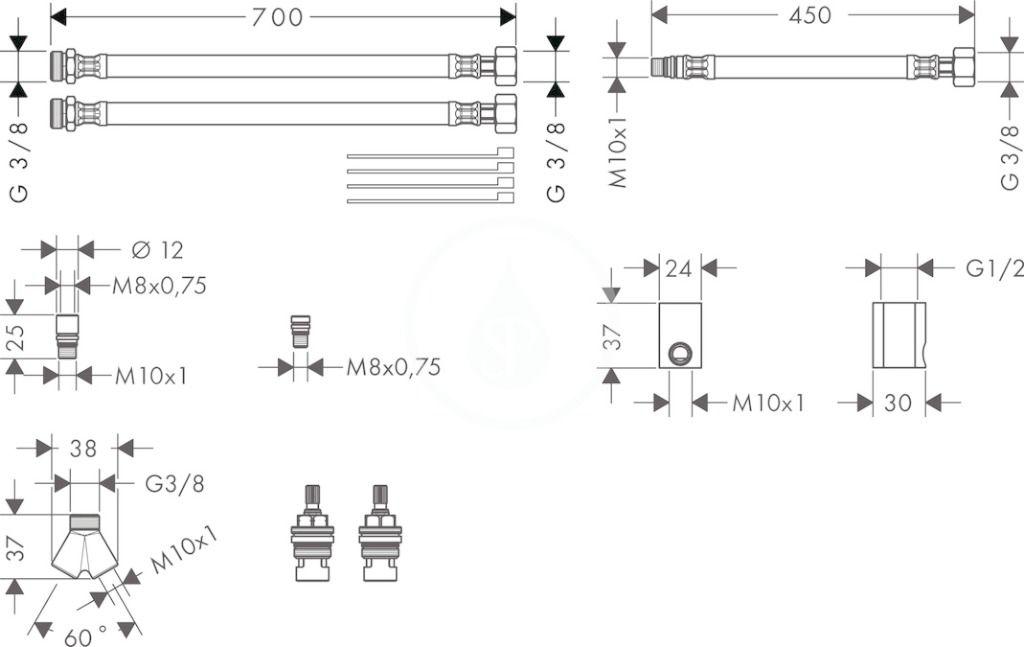 AXOR - Příslušenství Sada prodlužovacích hadic pro tříotvorové umyvadlové baterie (38959000)