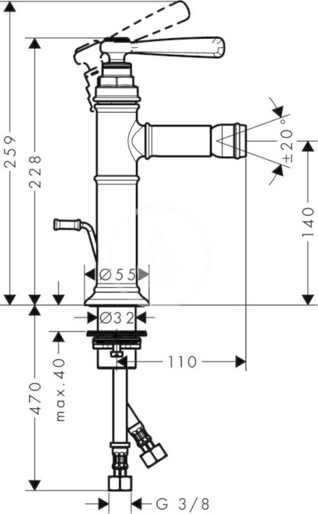 AXOR - Montreux Páková bidetová baterie s odtokovou soupravou s táhlem, chrom (16526000)