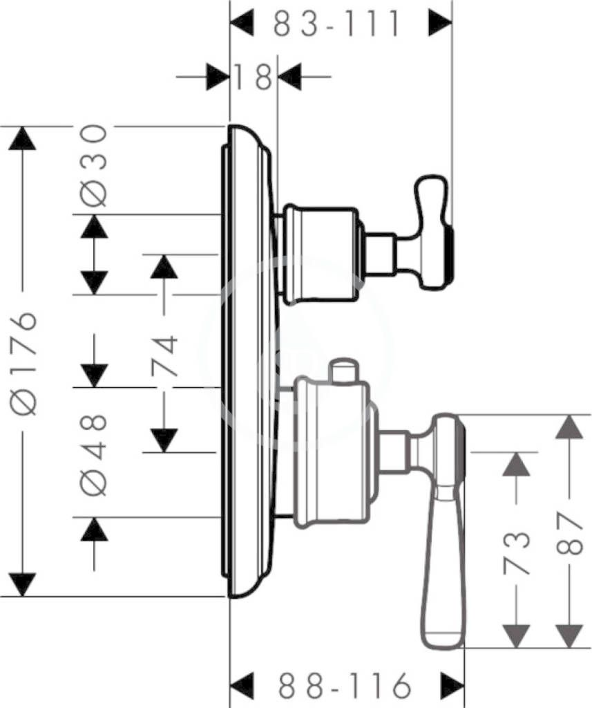AXOR - Montreux Termostatická baterie pod omítku s uzavíracím ventilem, chrom (16801000)