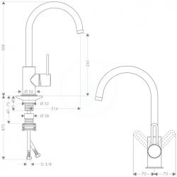 AXOR - Uno Páková dřezová baterie, chrom (38830000), fotografie 2/3