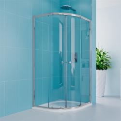 MEREO - Sprchový set z Kory Lite, čtvrtkruh, 80 cm, chrom ALU, sklo Čiré a vysoké SMC vaničky vč. sifonu (CK35133HH)