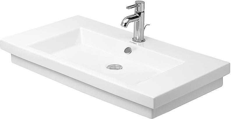 DURAVIT 2nd floor Umyvadlo s přepadem, 800 mm x 500 mm, bílé tříotvorové umyvadlo 0491800030