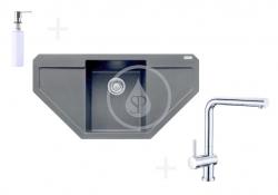 FRANKE - Sety Kuchyňský set G85, granitový dřez MRG 612 E, onyx + baterie Samoa, chrom + dávkovač FD 300 (114.0365.823)