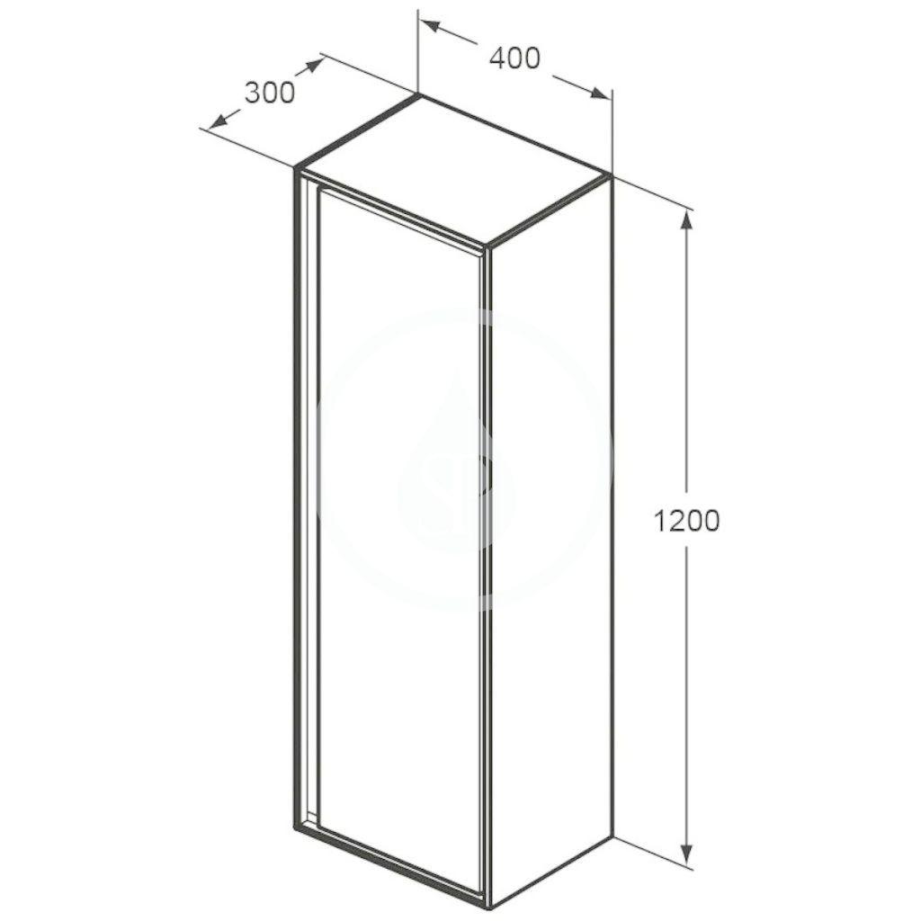 IDEAL STANDARD - Connect Air Vysoká skříňka 400x300x1200 mm,  matná hnědá/matná bílá (E0834VY)