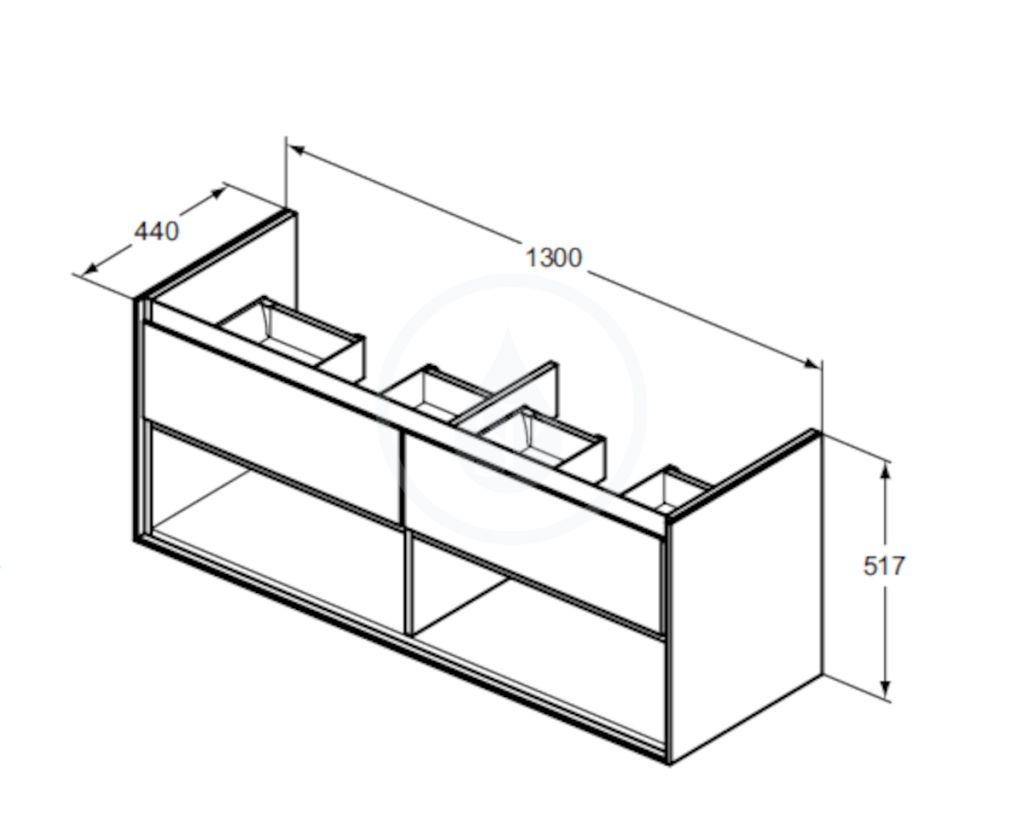 IDEAL STANDARD - Connect Air Skříňka pod dvojumyvadlo, 1300x440x517 mm, lesklá bílá/bílá mat (E0831B2)